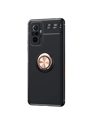 Microsonic Xiaomi Redmi Note 10 Pro Kılıf Kickstand Ring Holder Kırmızı Siyah